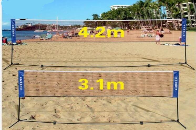 Portable Quickstart Tennis Badminton Net System Indoor Outdoor Sports Volleyball Training Square Mesh Net Blue 3M/4M/5M/6M