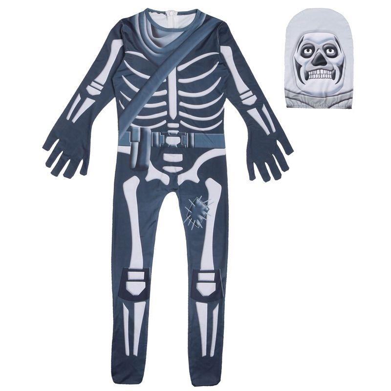 Meninos Fantasma Esqueleto Crânio Jumpsuit Cosplay Trajes de Festa de Halloween crianças Bodysuit Máscara Fancy Dress para Crianças Halloween Adereços