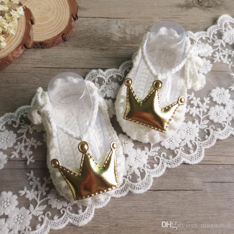 baby girl shoes handmade crochet toddlers lovely crown little princess milk cotton soft shoes creativitive bebe gift