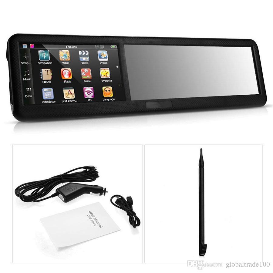 4.3 inç Araba Ayna Ile GPS Navigasyon Navigator MTK 256 MB 8 GB Dikiz Aynası Bluetooth AV FM Win CE 6.0 Çok ülke Mps