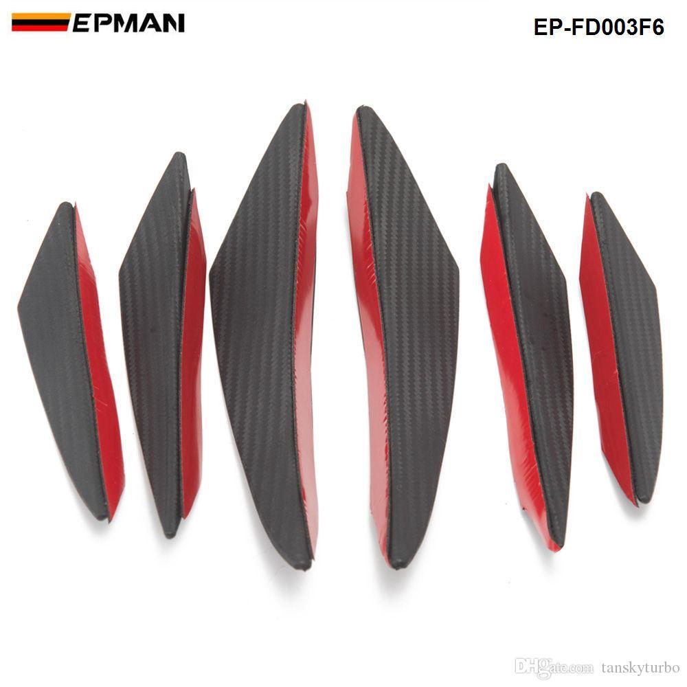 6PCS EPMAN / الكثير سيارة من ألياف الكربون الجبهة الوفير الفاصل الزعانف الجسم كابح الإشاعات الكاذبة الستارة تشين EP-FD003F6