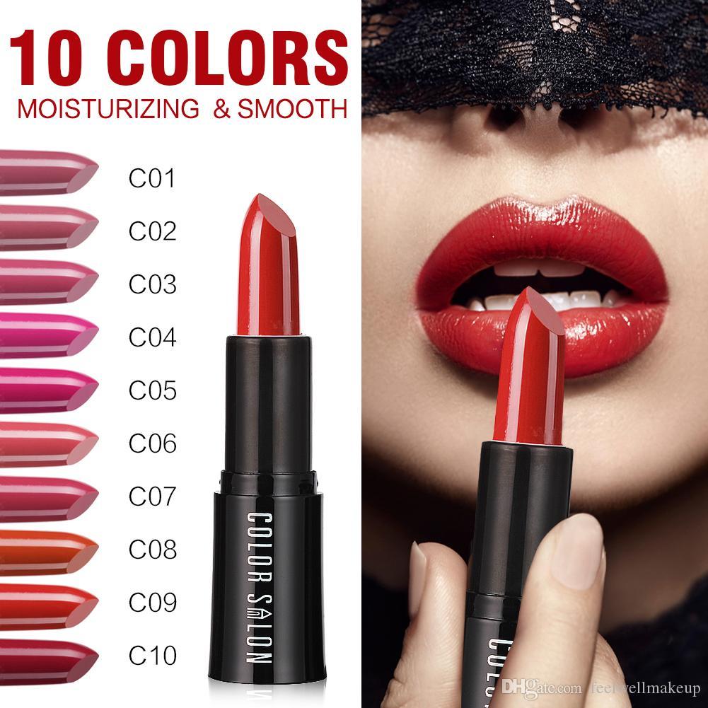Color Salon Crema Hidratante Lápiz Labial 10 Colores Maquillaje Sexy Larga duración Rosa Rojo Marca Pintalabios Rosa Pigmento Lápiz Labial Cosmético