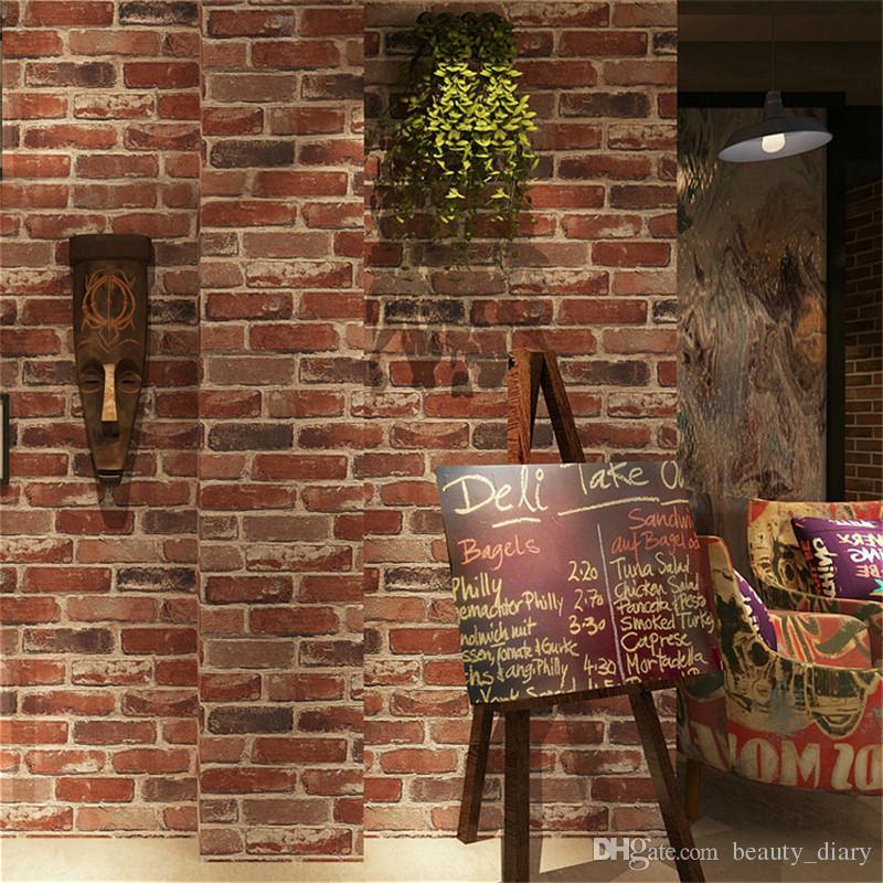 소박한 빈티지 3D 가짜 벽돌 벽지 롤 비닐 오래된 석조 벽 종이 카페 장식 색상 옐로우 레드 블랙 그레이