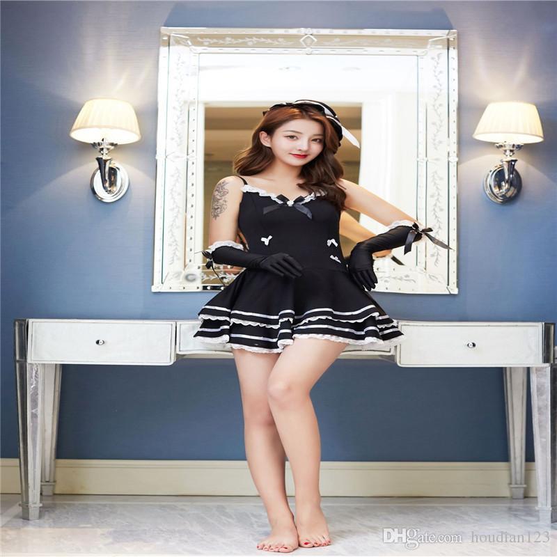 Sexy lingerie cute princess dress sling maid game uniform temptation straps hollow backless bow dress