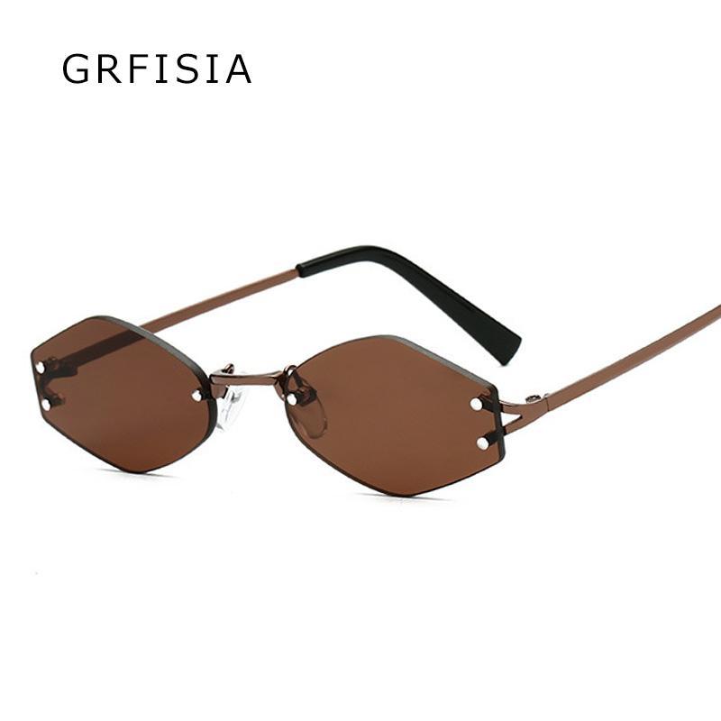 GRFISIA Малый Rimless Солнцезащитные очки Мужчины Женщины Марка Vintage площади Солнцезащитные очки высокого качества дамы моды Оттенки УФ-G354