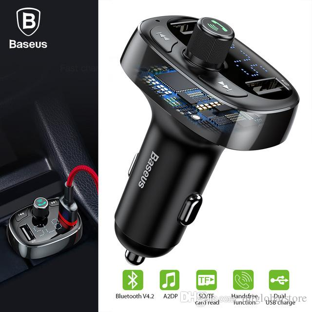 BASEUS S 09 T Typed 3.4A Dual USB Ports Bluetooth MP3 Car Charger Support TF CardU DiskFM Transmitter For IPhone Samsung Charging Cell Phone Power