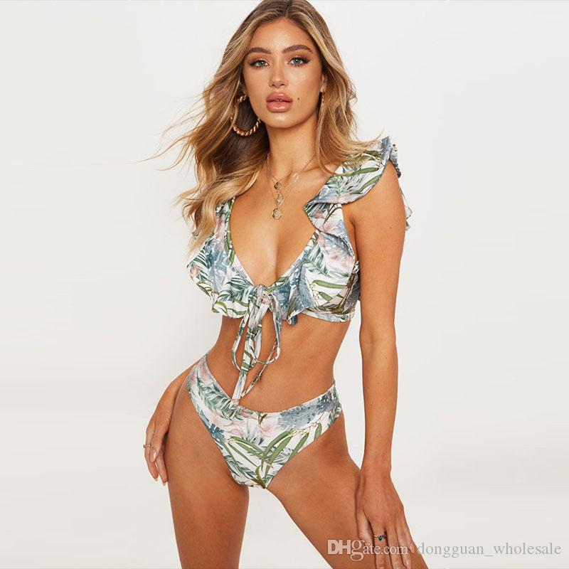ahorrar 79b21 d58c5 Compre Hojas Calientes Imprimir Bikinis 2019 Ruffle Hombro Traje De Baño  Mujeres Bikini Set Deep V Traje De Baño Trajes De Baño Para Mujeres  Biquinis ...