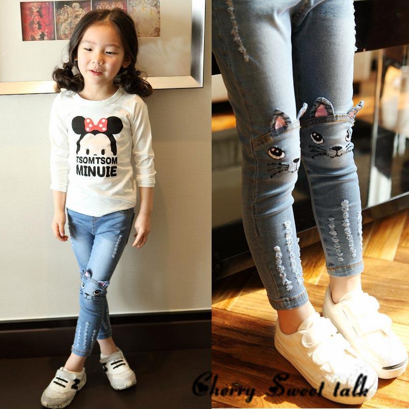 Acheter Jeans Fille Printemps Et Automne Enfants Vêtements Jeans Décontractés Pantalons Cartoon Image Filles Jeans 2 3 4 5 7 8 9 10 11 12 13 14 Ans