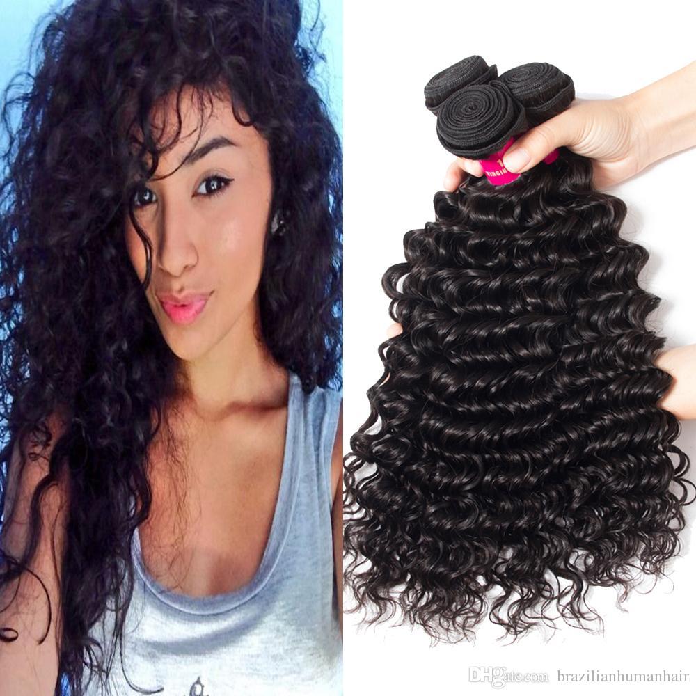 Onda Do Corpo Em Linha Reta Brasileira Onda Solta Kinky Curly Onda Profunda Do Cabelo Virgem Não Transformados Peruano Malaio Corpo virgem Extensões de cabelo Humano