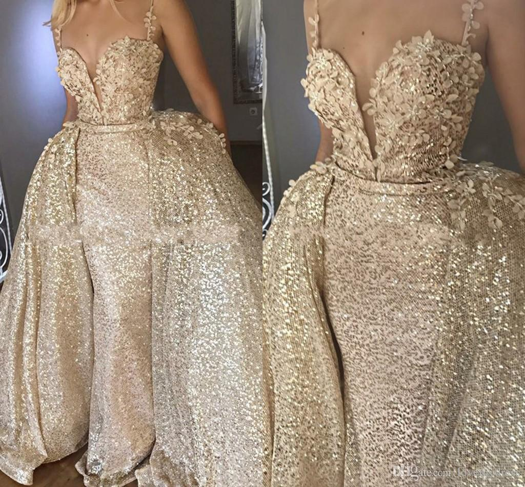 2019 Expensive Golden Prom Dresses With Detachable Train Spaghetti V-neck Backless 3D Flowers Party Evening Gowns Formal Dress Long Fashion