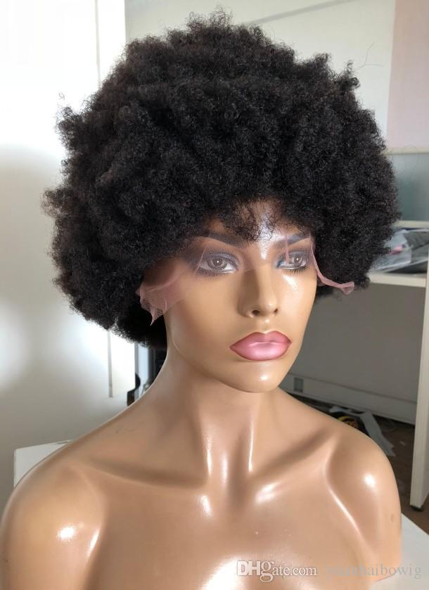 Afro Kinky Curl Full Lace Wigs New Popular Style 130% Density Lace Front Wigs Virgin Brazilian Hair 100 Human Hair Free Shipping