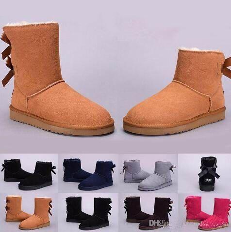 2018 Brand Classic Pelle Genuine Pelle Bailey Boot Stivali da neve 100% Lena Boots Scarpe invernali calde Scarpe invernali per donna stivali da neve