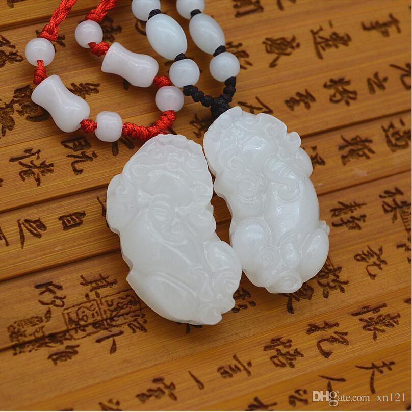 Collar de jade blanco natural auténtico Hetian jade colgante Lucky Fortune pareja de hombres y mujeres