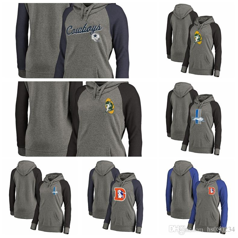Green Bay Packers Detroit Lions Denver Broncos Dallas Cowboys by Fanatics  Branded Women s Logo Tri-Blend Raglan Pullover Hoodie 4008ab73f