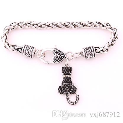 Animal Bracelet Lobster Claw Antique Silver Wheat Chain Bracelet Chain With White Black Crystal LOVE CAT Pendant Bracelet
