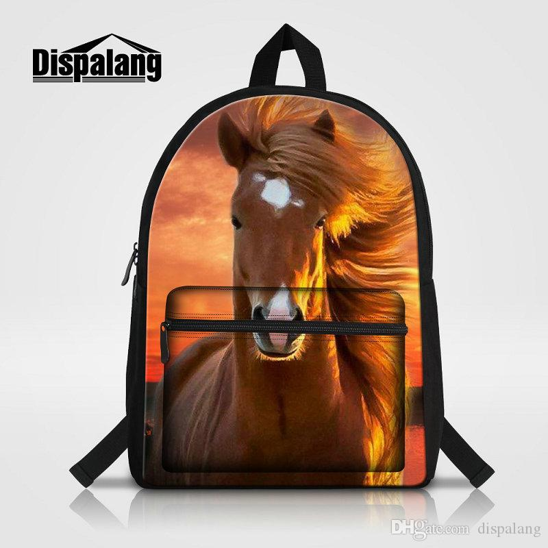 Horse Printed School Bag For Middle School Students Animal Bookbags For Teenagers Portable Laptop Bags High Quality Canvas Backpack Bagpacks
