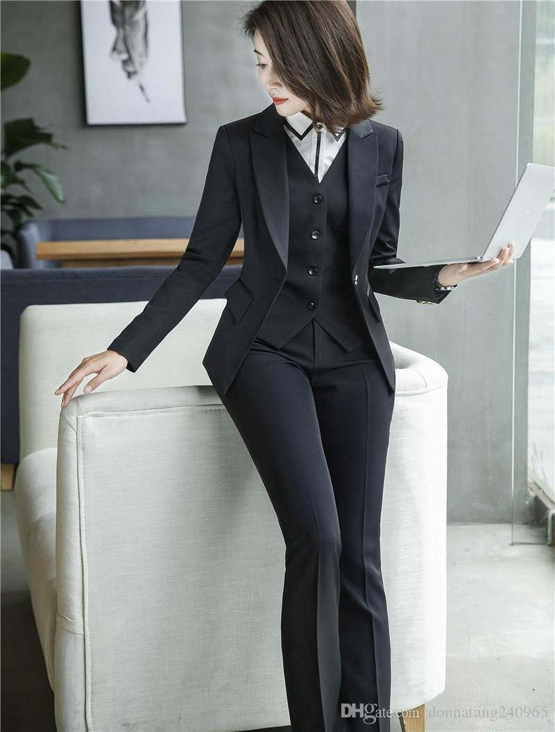 Womens Trend Classic Temperament A three-piece Suit 3pcs Pants Sets Business