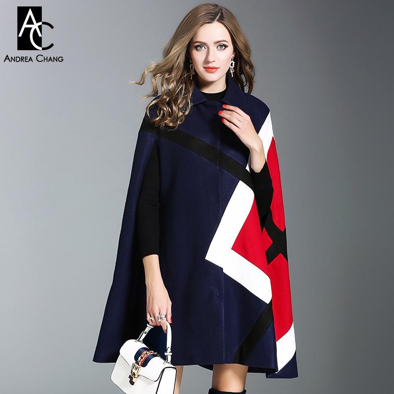 Bleu Manteau Foncé Acheter Mode Géométrique Cape Bureau Motif Hiver Cape Dame Vert Manteau Laine De Manteau Rouge Manteau De Laine Automne Femme Style kuZXiP