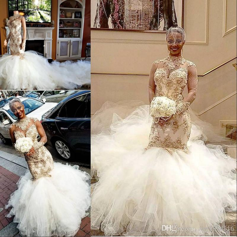 Africa Mermaid Wedding Dress With 2 Meter Tail High Neck Beads Applique Long Sleeves Bridal Gown Glamorous Sheer Back Fluffy Wedding Dresses