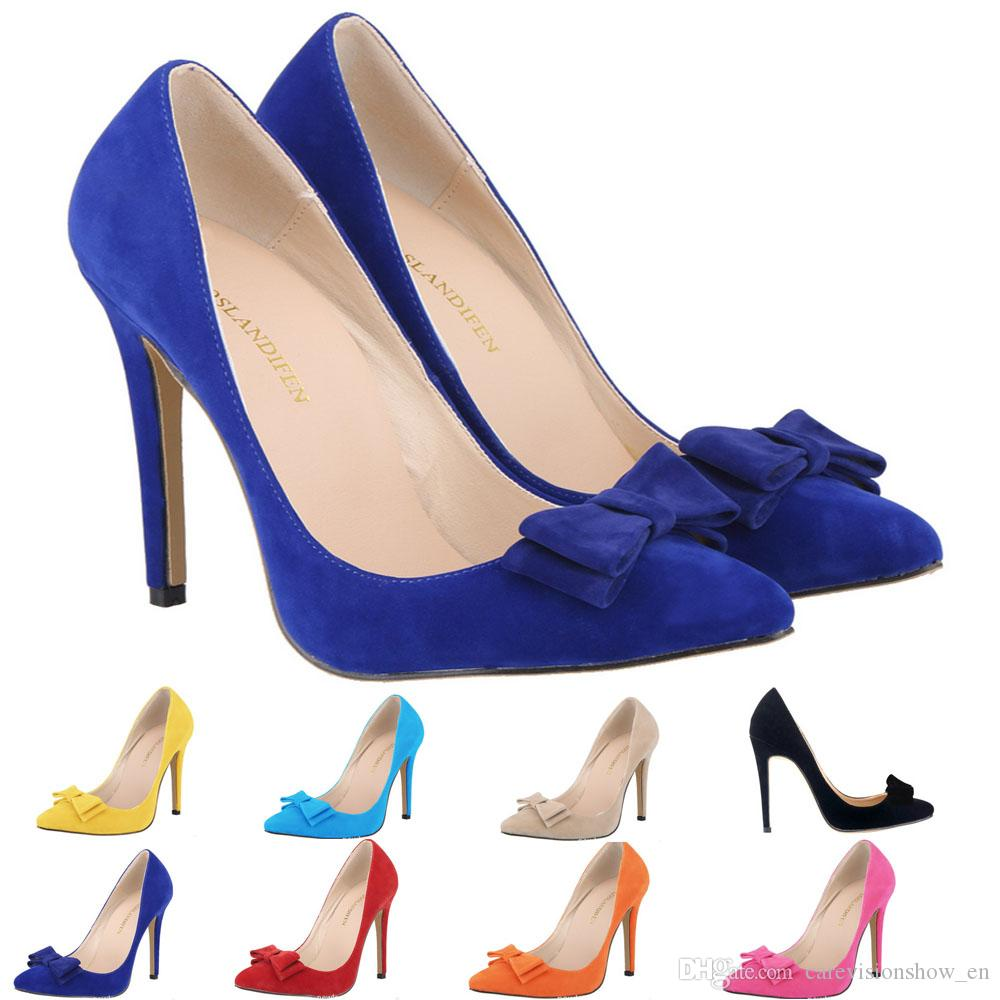 Womens Sexy Dress Shoes Pointed Toe Flock Bowtie High Heels Corset Pumps Party Court Shoes US 4-11 D0229