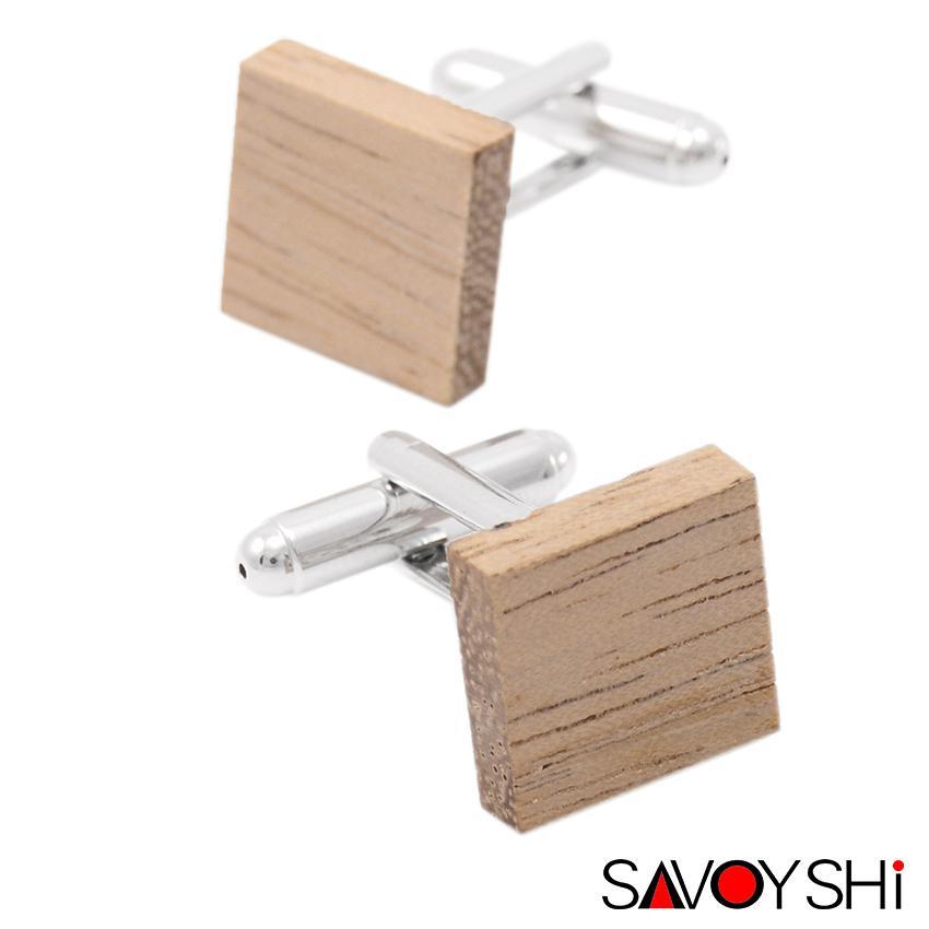 SAVOYSHI Low-chiave di lusso in legno gemelli per camicia Mens Cuff Bottoni di alta qualità di Piazza gemello di modo di marca degli uomini Jewelry Design
