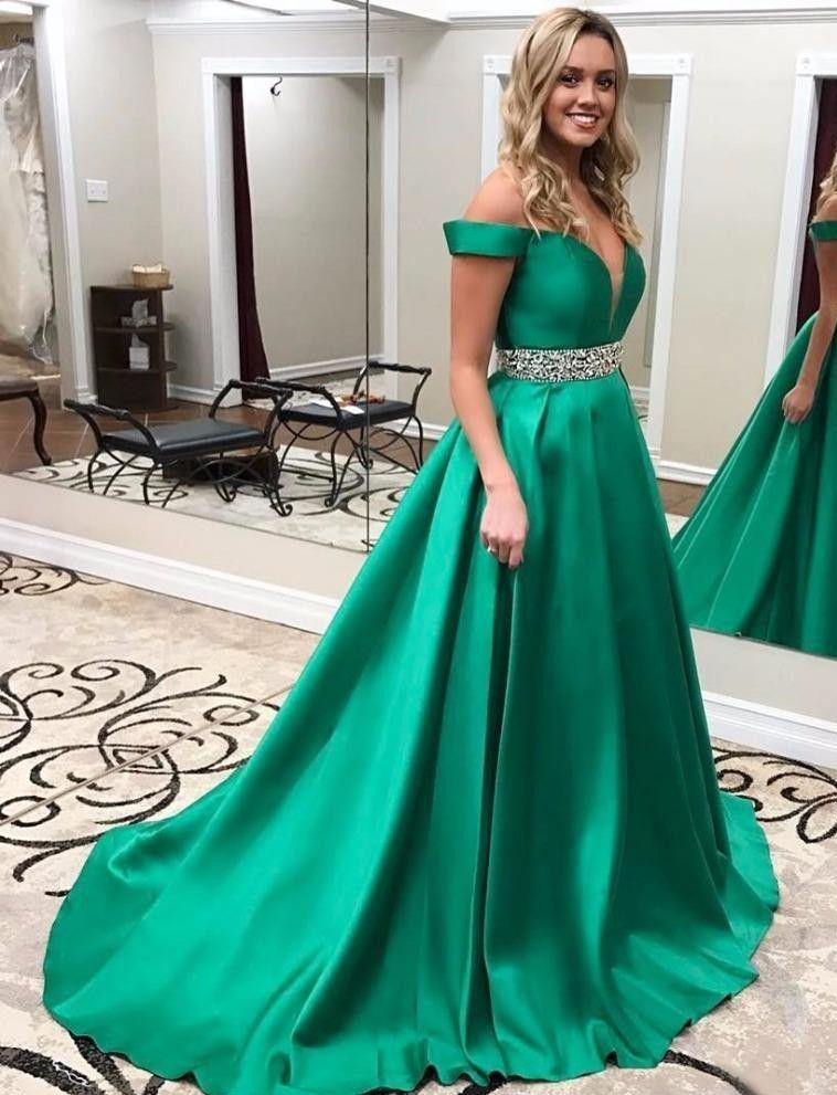 Vestidos de fiesta de Emerald Green Una línea de cuello en V Fuera del hombro Vestido de fiesta formal de mujer sexy Vestido de noche de raso de tren de barrido con cuentas Cintura
