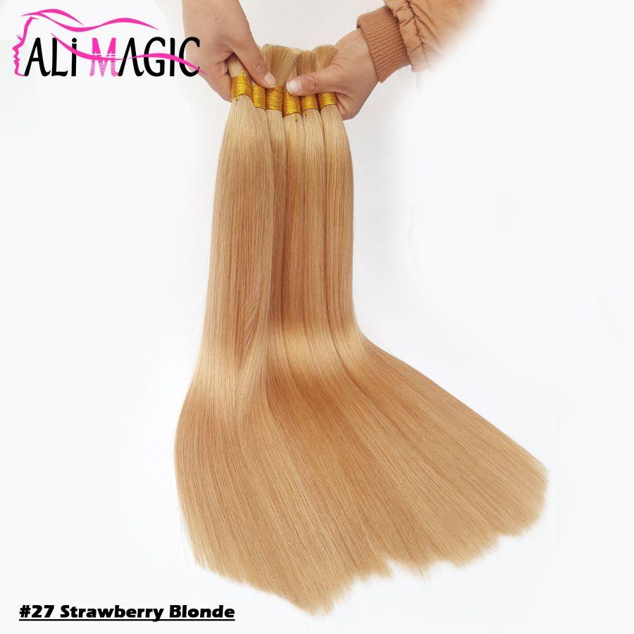 "Brazilian Hair Bulk Human Hair Bundles #27 Strawberry Blonde Hair Bulk For Braiding 18""20""22""24"" Ali Magic Factory Outlet 12colors Optional"