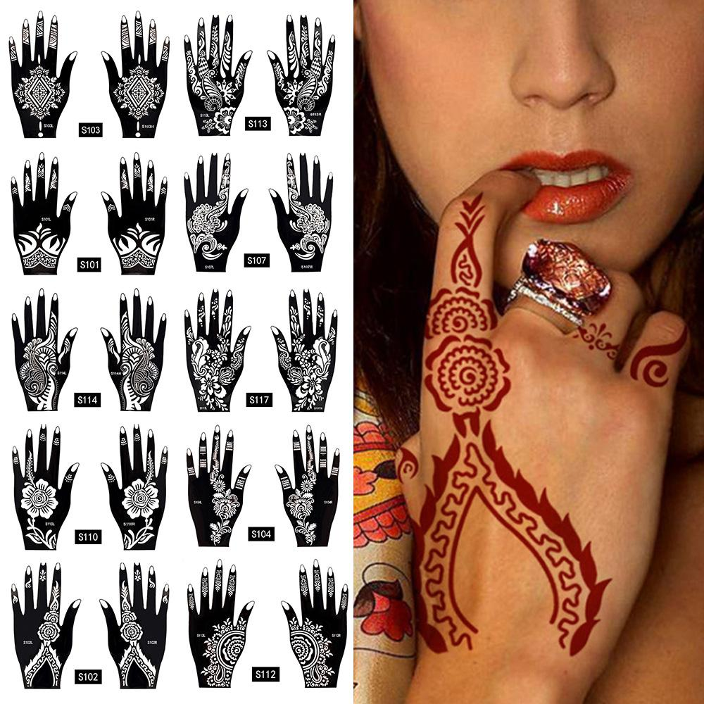 Waterproof Temporary Tattoo Sticker Body Art Men Women Indian Henna Pattern Beauty Waterproof Fake Arm Hand Tattoo Extra Large Temporary Tattoos