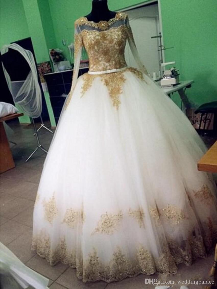 Long Sleeves Gold Lace Appliques Wedding Dresses Crystal Puffy Ball Gown Illusion Jewel White Tulle Muslim Arabic Dubai Bridal Gowns