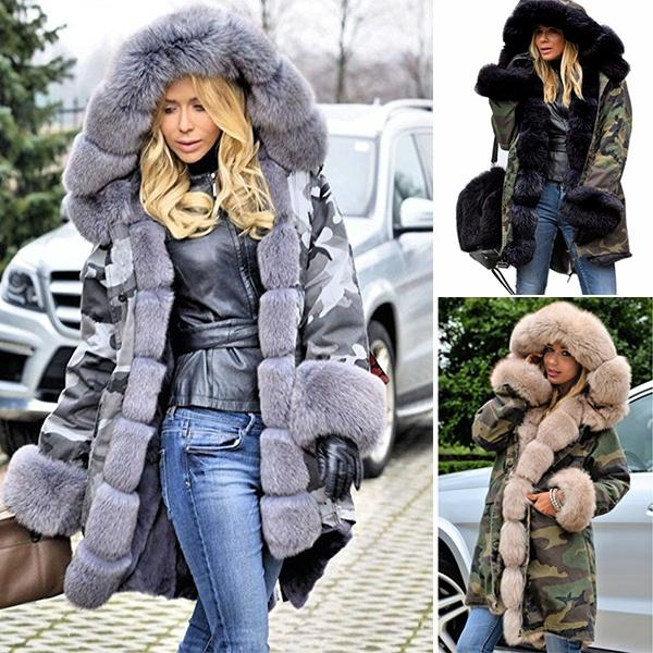 online store bf1db 82c12 2019 Fashion Luxury Women Faux Fur Coat Casual Hood Parka Ladies Long  Trench Jacket Winter Warm Thick Long Parka Faux Fur Hooded Overcoat Outwear  From ...