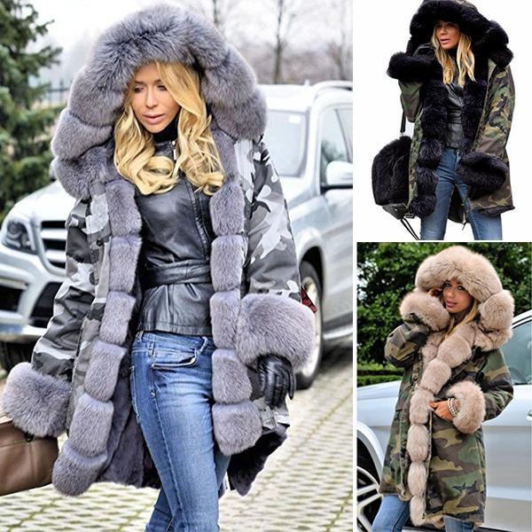 Großhandel Beiläufige Lange Starker Winter Faux Damen Warmer Kapuze Mantel Parka Mit Langer Graben Mode Luxusfrauen Pelz Kunst Hood Jacke PuwkXZilOT