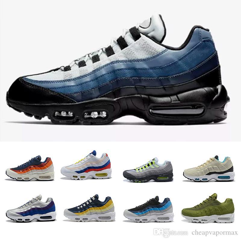 2018 nuovi uomini all'ingrosso 95 scarpe da corsa autentiche scarpe sportive per gli uomini blu nebulosa limone lavare scarpe da ginnastica in platino cuscino metallico sneakers