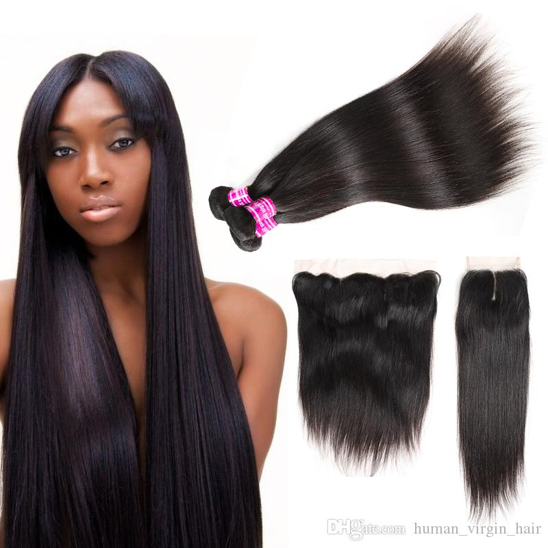 Superior Supplier Brazilian Virgin Hair Straight Bundles With Lace Closure & Frontal Unprocessed Peruvian Indian Human Hair Extensions Wefts