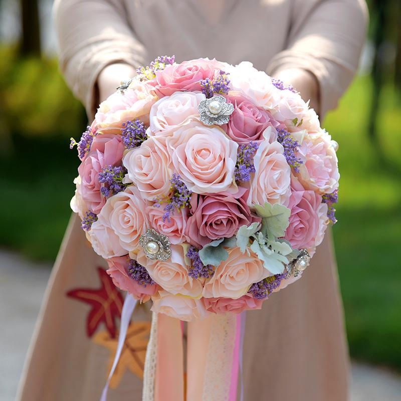 Toptan Romantik Lavanta Yapay Çiçekler Rozet Düğün Buketleri 2017 Yeni Varış Gelin Nedime Buket Mor buque
