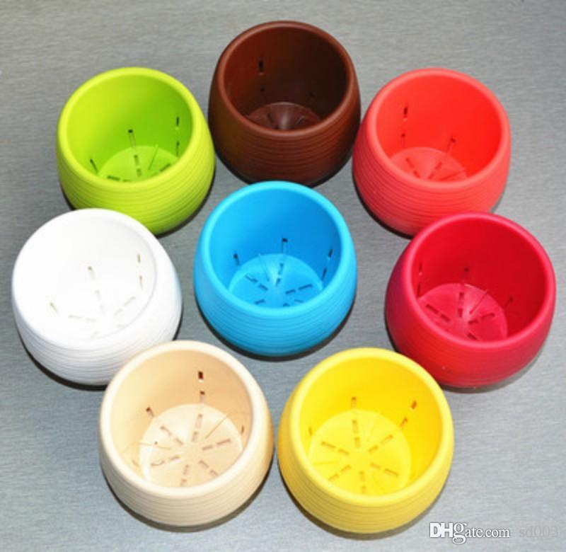 7 * 7 cm Mini Flor Bonsai Macetas Multi Colores Plástico Redondo Plantas Fugas Agua Orificio Diseño Plantas Suculentas Maceta de Jardín Multi Colores ZZ