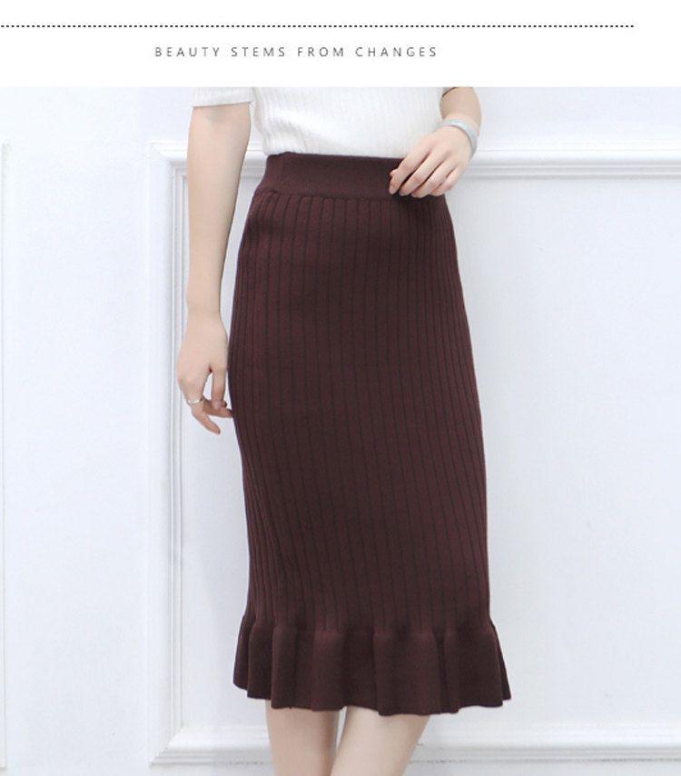 Winter Knitted Skirts Women High Waist Mermaid Skirt Saia Knitting Pack Hip Skirt Women\`s 2019 Casual Bodycon Faldas Mujer (4)