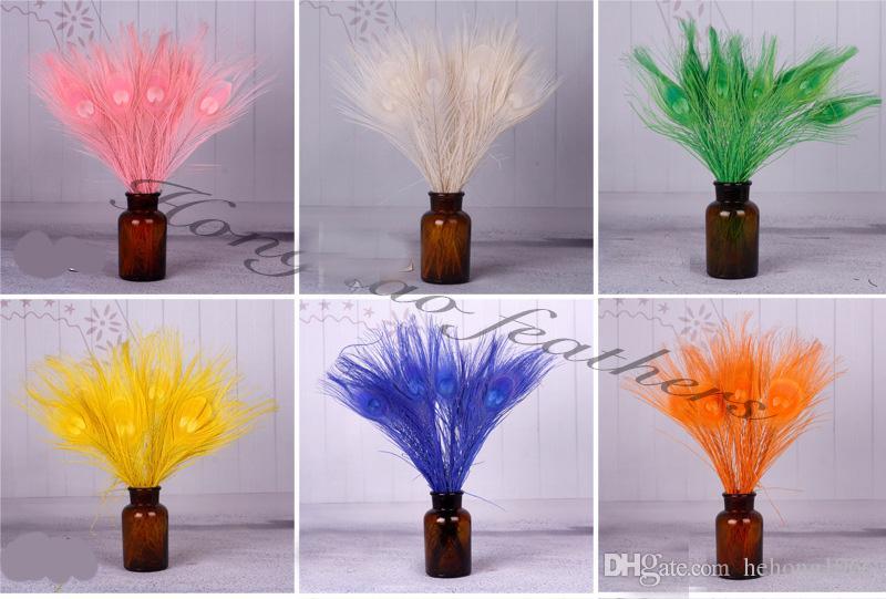 100pcs 1set plumas coloridas del pavo real 25 y 30 cm Longitud Partido Para natural de la pluma del escritorio del hogar decoración única 1 1HX Z