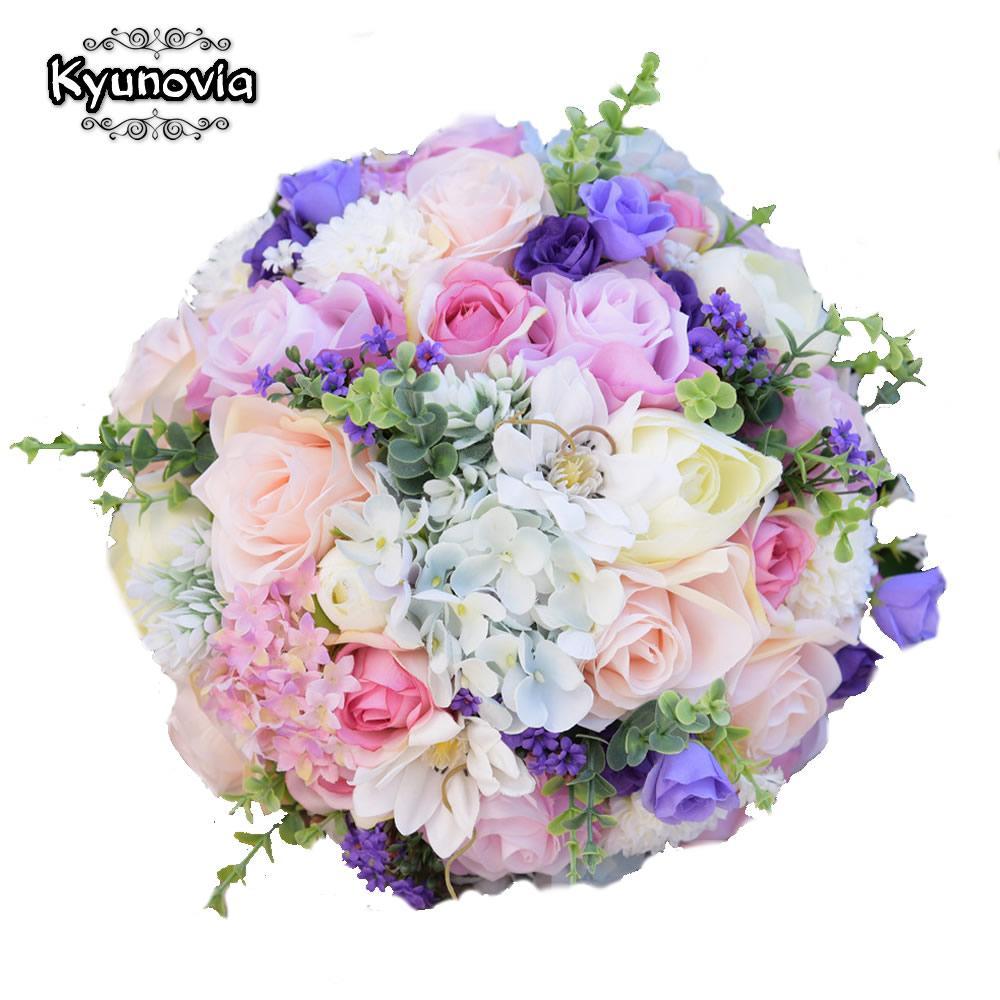 Kyunovia Seide Hochzeit Blumen Garten Bouquet Home Decor Blumen Brautjungfer Bouquets Rosen Hydrangea Brautstrauß 3 Größen
