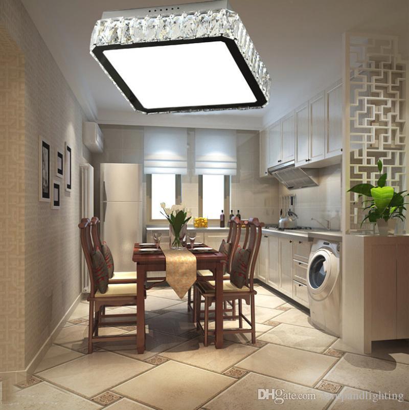Plafones de cristal lustre de luces de techo LED de 40 cm de luz cuadrada moderna y elegante para el comedor de la sala de estar dormitorio