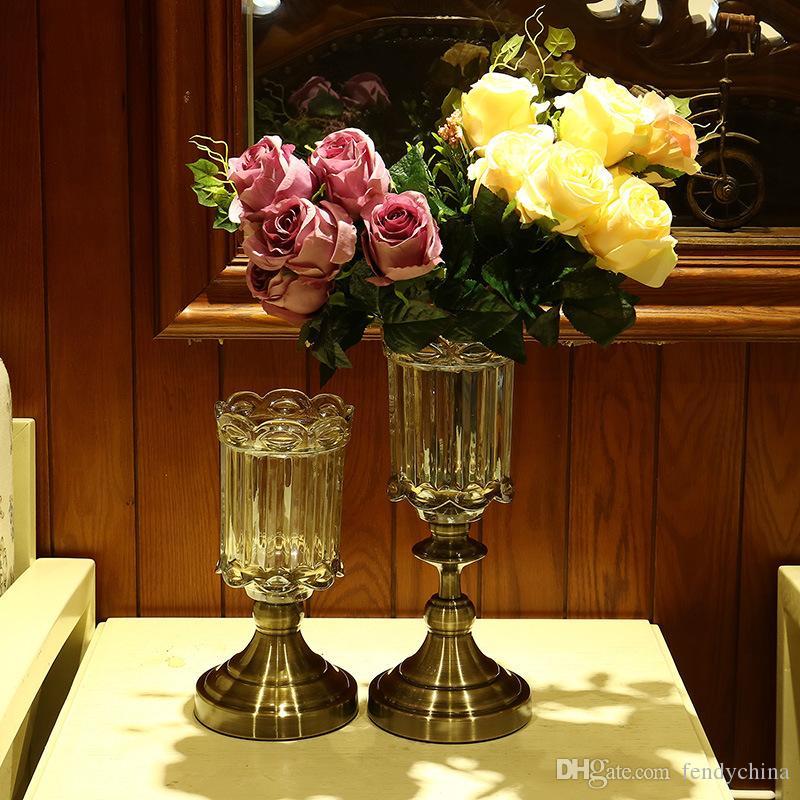 retro glass vase metal alloy gold bronze small vase modern table jardinie creative home decorative Artificial flower bottle
