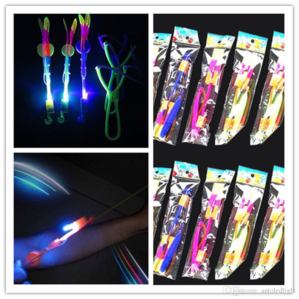 Novelty lighting LED Light Flash Flying Elastic Powered Arrow Sling Shoot Up Helicopter helicopter umbrella kids toy