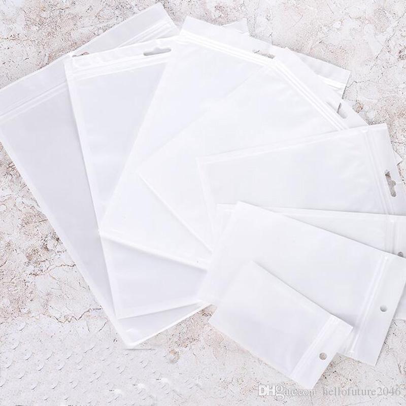 600pcs / lot 20x27cm Blanc / Clear Self Selfe Fermeture à glissière en plastique refermable Sac de rangement en plastique Sac à sceller pour couverture de cahier