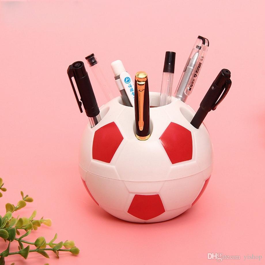 Creative Pencil Cases Soccer Pen Holder Vase Color Football Box Makeup Brush Stationery Desk Set Tidy Design Container Gift Storage Supplie