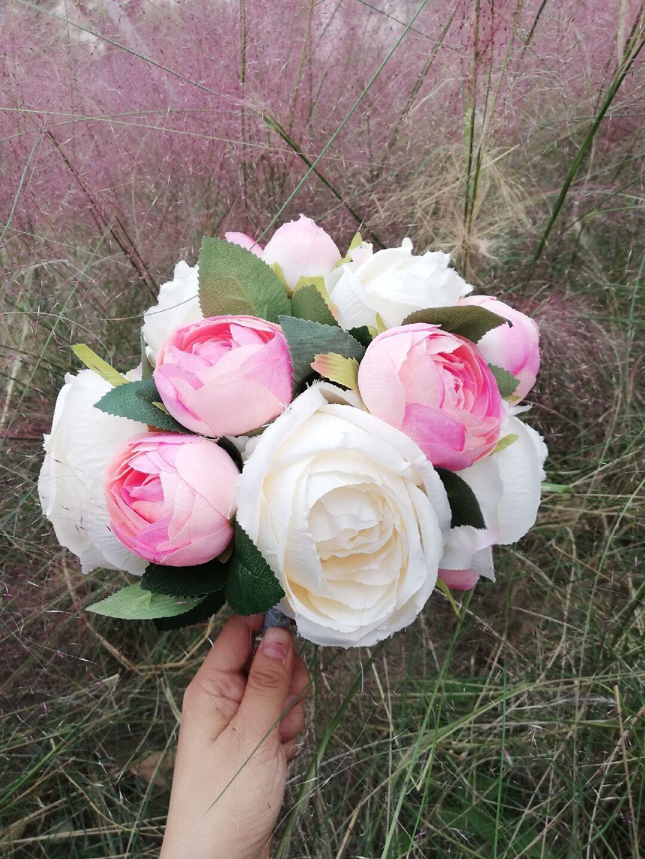 İpek Gelin Buketi Kır Çiçekler Pembe Fildişi Güller Rustik Chic Düğün Nedime Buket Düğün Çiçek Düğün Aksesuarları