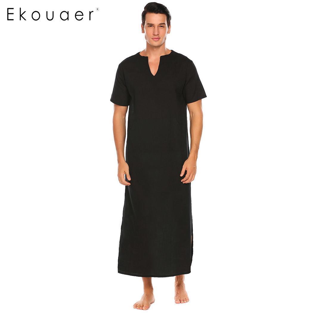 verkauf uk Kaufen beliebte Marke Großhandel Ekouaer Herren 100% Baumwolle Nachthemden Nachtwäsche Kurzarm  Solide Seite Split Notch Neck Lange Pyjama Nachthemd Casual Homewear Von ...