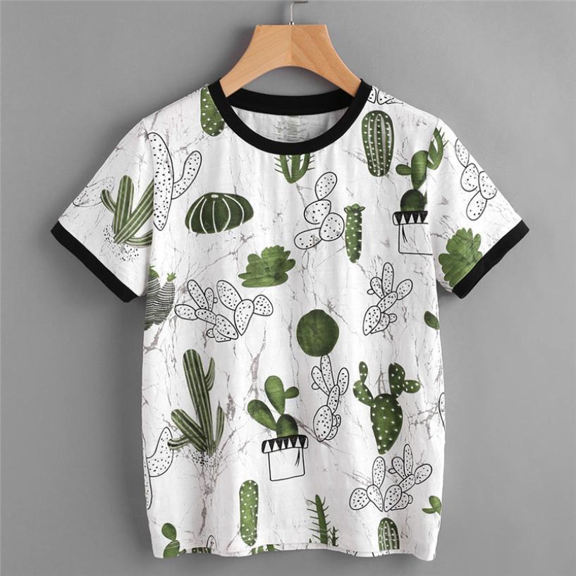 Imprimé Cactus Tshirt Femmes Été À Manches Courtes Imprimé T-shirt Harajuku Mode Vêtements Coréens Camisetas Femininas # 121