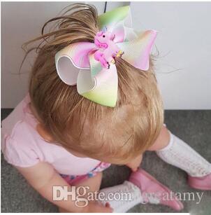 European and American children's bubble hair accessories headdress girls gradient eight-character cartoon bow duckbill clip hairpin