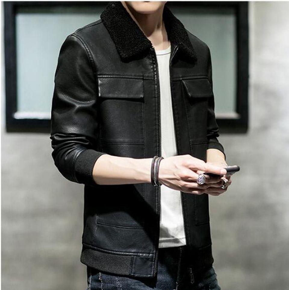 Мужская осень зима бутик бизнес корейская версия новой тенденции обрезать волосы на теле воротник красивый мотоцикл пальто M-4XL