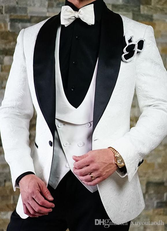 Hadesome Custom Made White Pattern Men Suits Wedding Suits Shawl Lapel Best Man Slim Fit 3 Pieces Tuxedo Prom Groom Blazer Terno Masculino