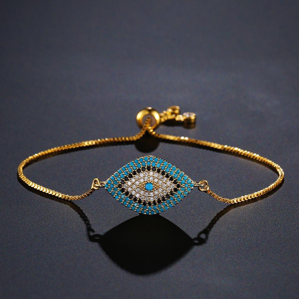 NEWBUY 2020 na moda turca ouro mal Eye Pulseira Pave CZ Ouro Blue Eye Pulseira Cadeia ajustável Partido Feminino Jóias